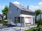 Проект стильного дома с цоколем, гаражом и мансардой